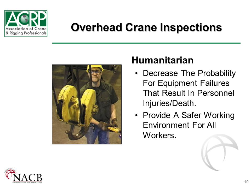 Overhead Crane Inspections Humanitarian Decrease The Probability For Equipment Failures That Result In Personnel Injuries/Death.