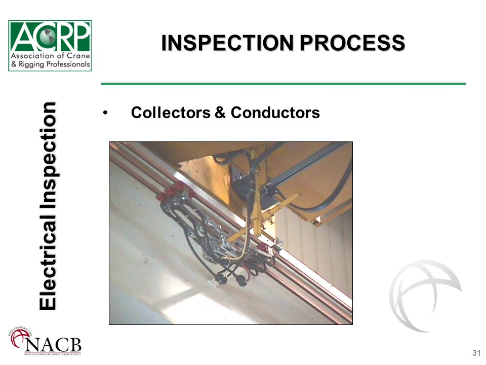 INSPECTION PROCESS 31 Collectors & Conductors Electrical Inspection