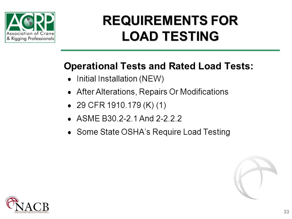 REQUIREMENTS FOR LOAD TESTING Operational Tests and Rated Load Tests: Initial Installation (NEW) After Alterations, Repairs Or Modifications 29 CFR 1910.179 (K) (1) ASME B30.2-2.1 And 2-2.2.2 Some State OSHAs Require Load Testing 33