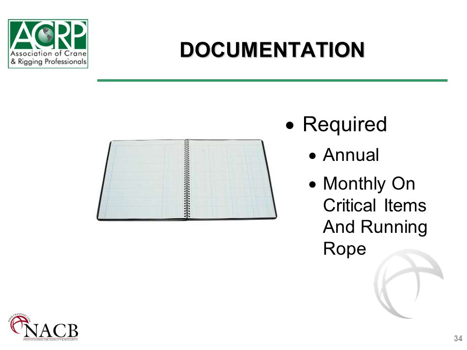 DOCUMENTATION Required Annual Monthly On Critical Items And Running Rope 34