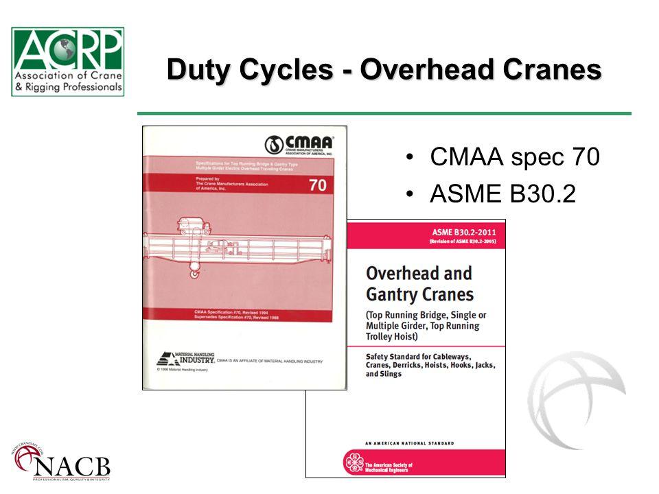 Duty Cycles - Overhead Cranes CMAA spec 70 ASME B30.2