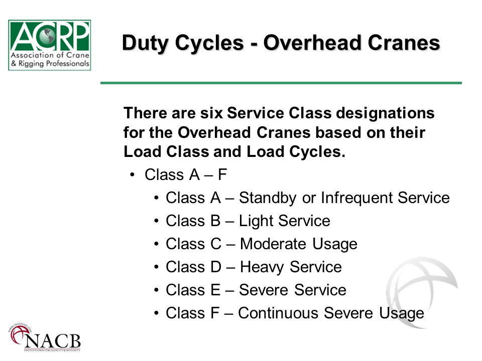 Duty Cycles - Overhead Cranes There are six Service Class designations for the Overhead Cranes based on their Load Class and Load Cycles.