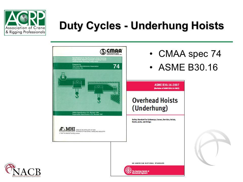 Duty Cycles - Underhung Hoists CMAA spec 74 ASME B30.16