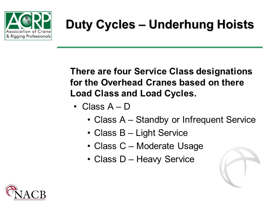 Duty Cycles – Underhung Hoists There are four Service Class designations for the Overhead Cranes based on there Load Class and Load Cycles.