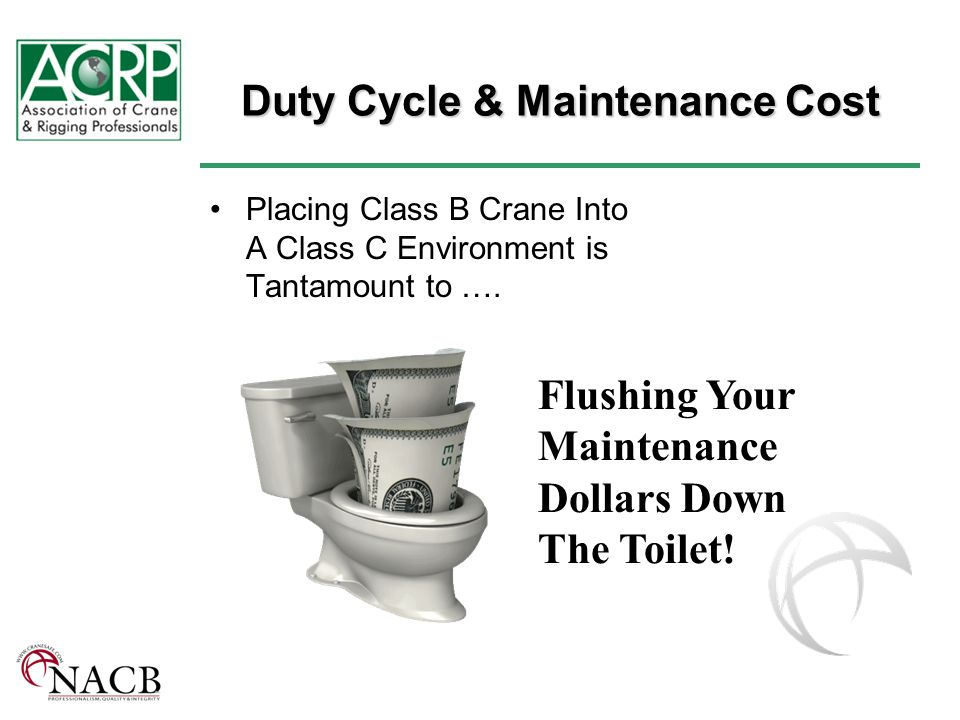 Duty Cycle & Maintenance Cost Placing Class B Crane Into A Class C Environment is Tantamount to ….