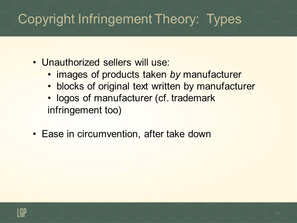 Copyright Infringement Theory: Types 14 Unauthorized sellers will use: images of products taken by manufacturer blocks of original text written by manufacturer logos of manufacturer (cf.