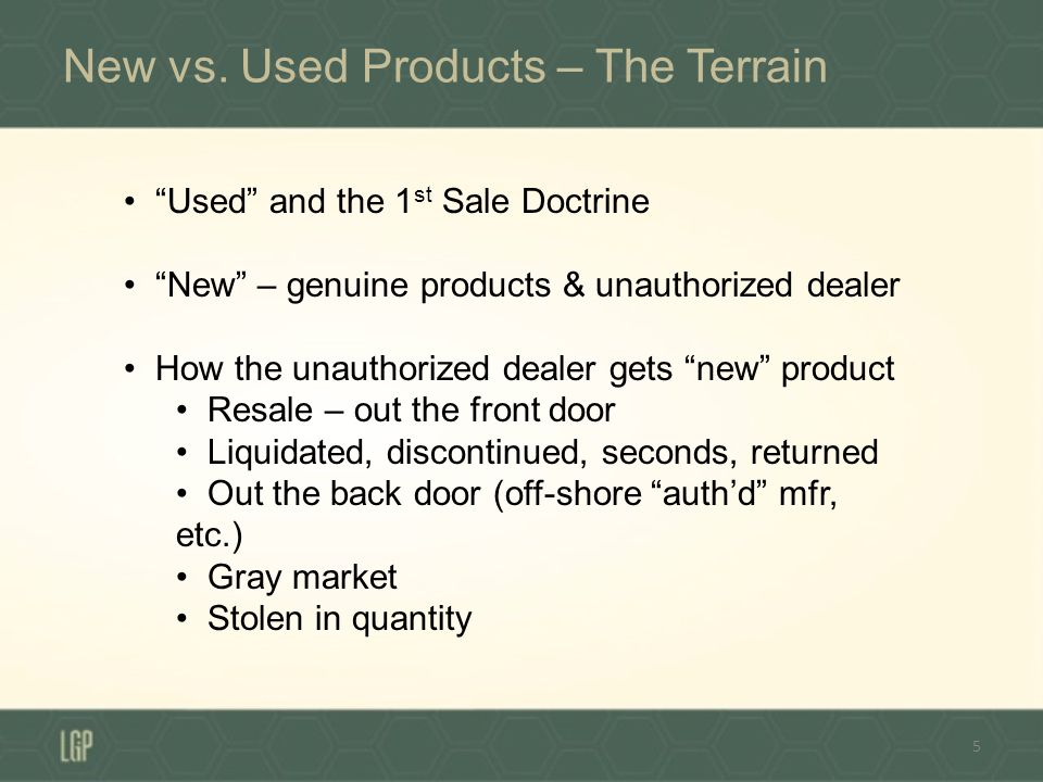 The Terrain – the Dealer-Distribution Agmt 6 In addition to issues with downstream seller Contract provisions with dealer transshipments channels of trade (internet sales?) liquidation vs.