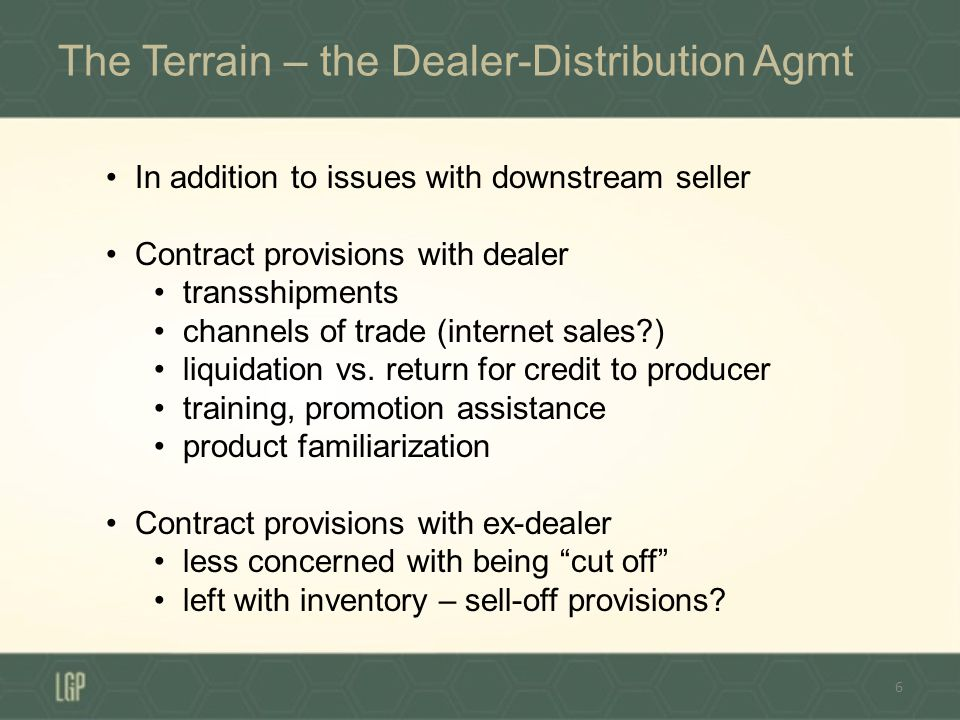 Nothing is Per Se Improper About Being an Unauthorized Dealer 7 Genuine goods, bearing true mark No IP basis to block Usually no contract privity Need something more