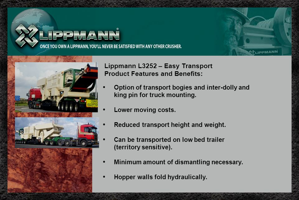 Lippmann L3252 – Easy Transport Product Features and Benefits: Option of transport bogies and inter-dolly and king pin for truck mounting.