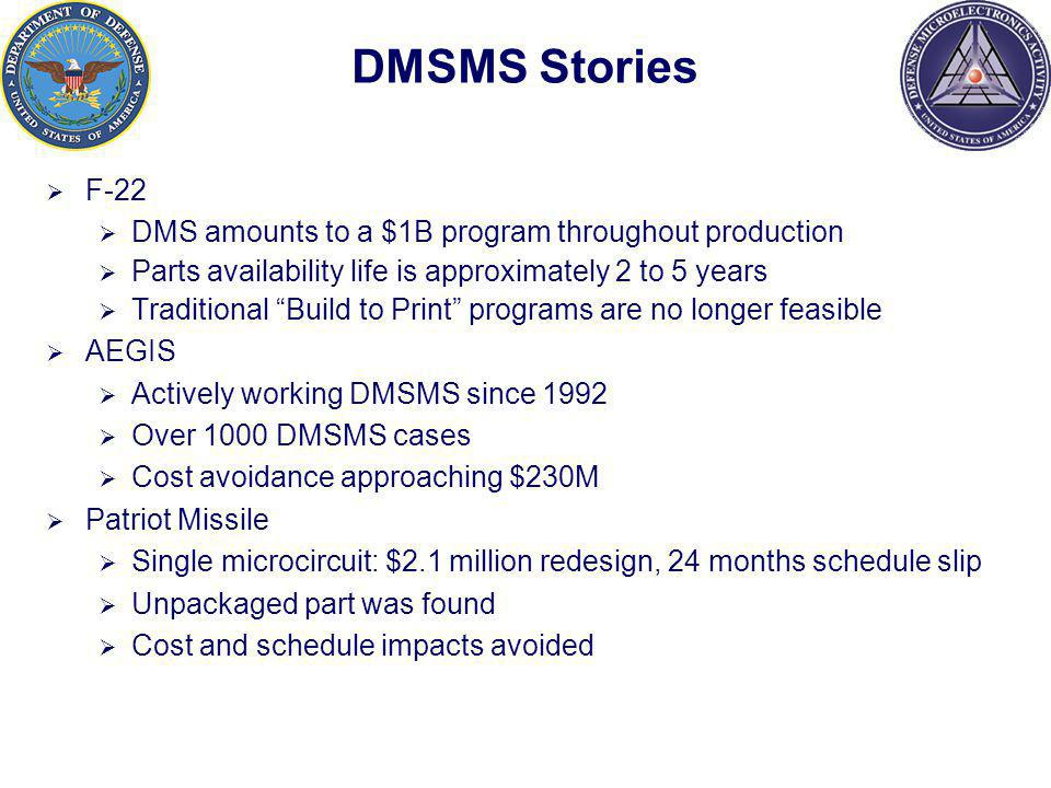 DMSMS Stories F-22 DMS amounts to a $1B program throughout production Parts availability life is approximately 2 to 5 years Traditional Build to Print programs are no longer feasible AEGIS Actively working DMSMS since 1992 Over 1000 DMSMS cases Cost avoidance approaching $230M Patriot Missile Single microcircuit: $2.1 million redesign, 24 months schedule slip Unpackaged part was found Cost and schedule impacts avoided