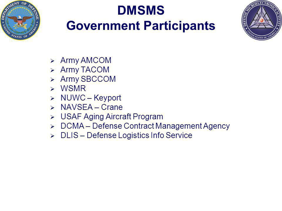 DMSMS Government Participants Army AMCOM Army TACOM Army SBCCOM WSMR NUWC – Keyport NAVSEA – Crane USAF Aging Aircraft Program DCMA – Defense Contract Management Agency DLIS – Defense Logistics Info Service