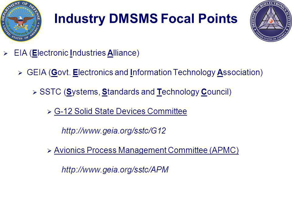 Industry DMSMS Focal Points EIA (Electronic Industries Alliance) GEIA (Govt.