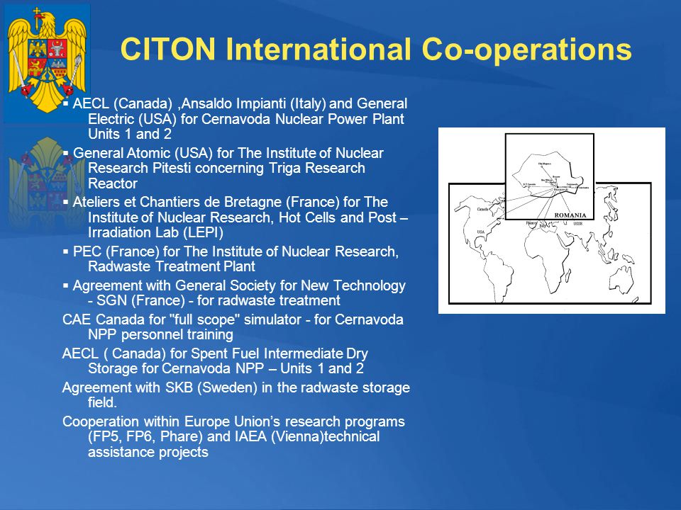 CITON International Co-operations AECL (Canada),Ansaldo Impianti (Italy) and General Electric (USA) for Cernavoda Nuclear Power Plant Units 1 and 2 Ge
