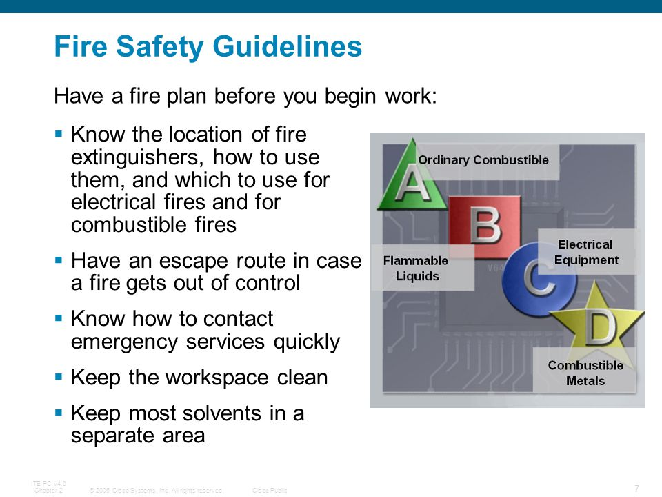 © 2006 Cisco Systems, Inc. All rights reserved.Cisco Public ITE PC v4.0 Chapter 2 7 Fire Safety Guidelines Know the location of fire extinguishers, ho