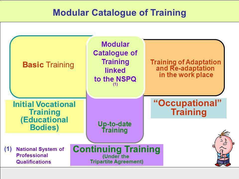 Modular Catalogue of Training Initial Vocational Training (Educational Bodies) Basic Training Occupational Training Training of Adaptation and Re-adap