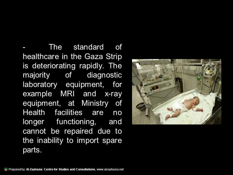 Prepared by: Al-Zaytouna Centre for Studies and Consultations, www.alzaytouna.net - The standard of healthcare in the Gaza Strip is deteriorating rapidly.