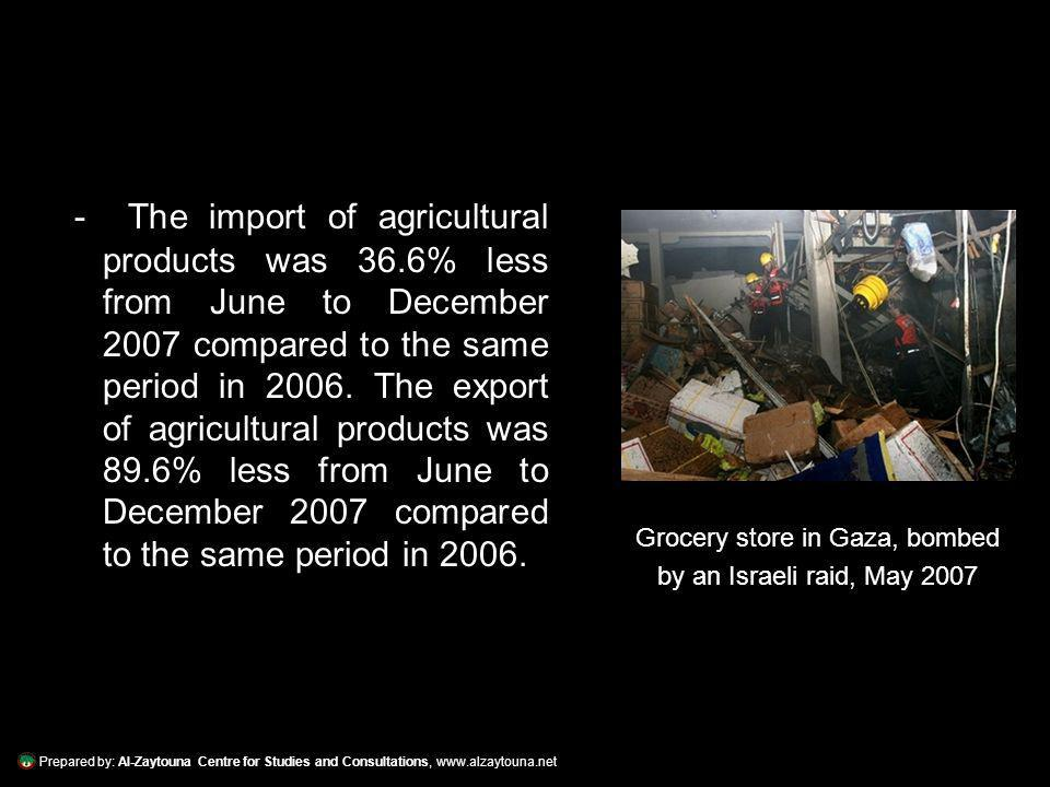 Prepared by: Al-Zaytouna Centre for Studies and Consultations, www.alzaytouna.net - The import of agricultural products was 36.6% less from June to December 2007 compared to the same period in 2006.