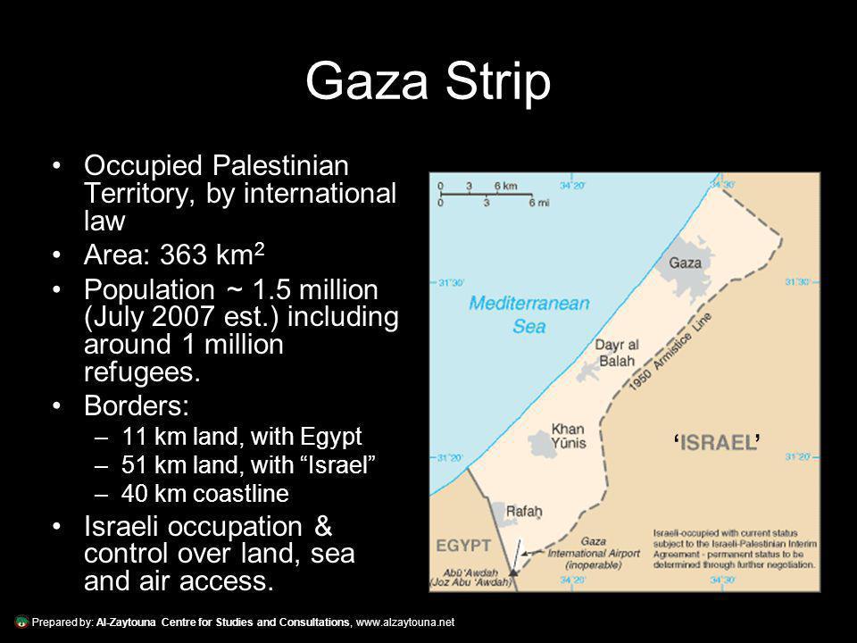 Prepared by: Al-Zaytouna Centre for Studies and Consultations, www.alzaytouna.net Gaza Strip Occupied Palestinian Territory, by international law Area