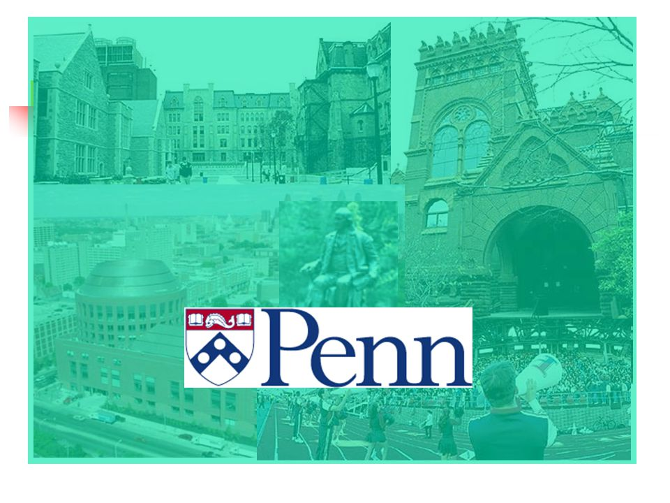 About Penn The University of Pennsylvania was founded by Ben Franklin in 1740 Penn is part of the Ivy League Located in western Philadelphia Community of more than 35,000 people