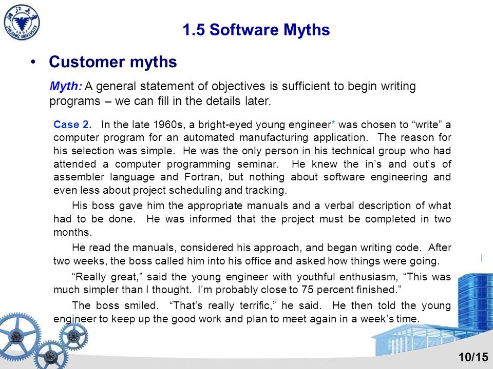 1.5 Software Myths Management myths Myth: We already have a book thats full of standards and procedures for building software. Wont that provide my pe