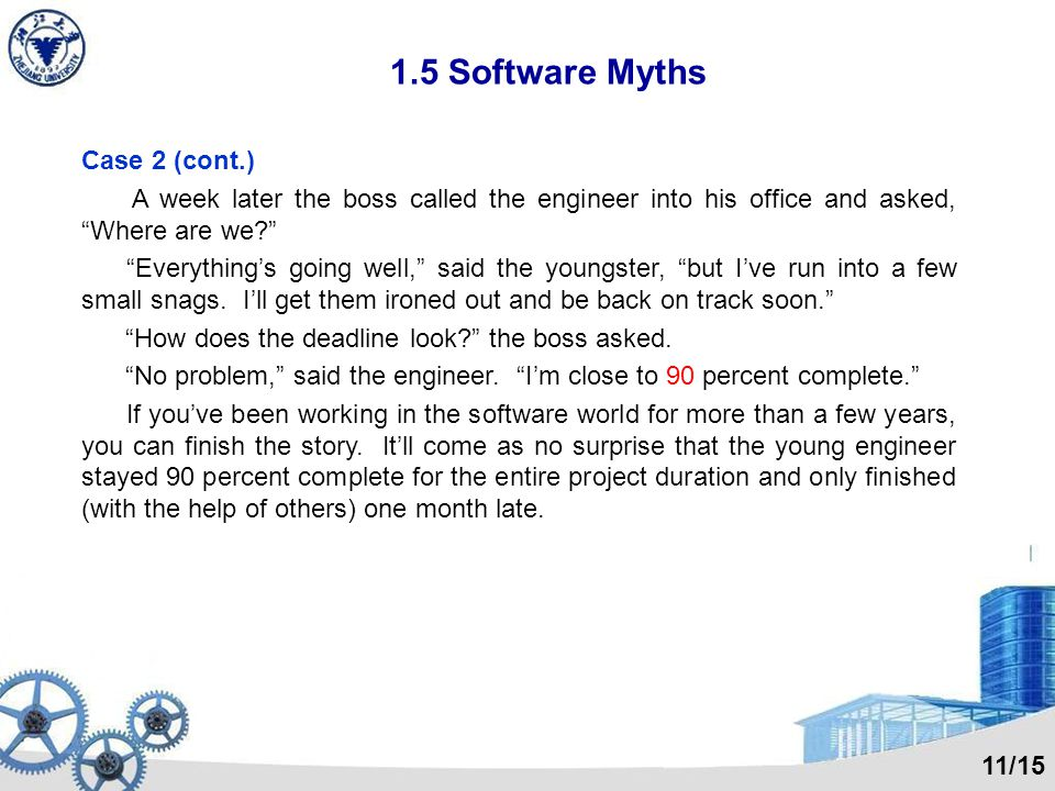 1.5 Software Myths Customer myths Myth: A general statement of objectives is sufficient to begin writing programs – we can fill in the details later.