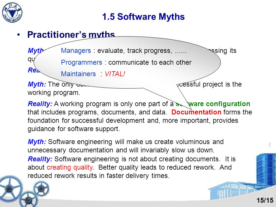 1.5 Software Myths Practitioners myths Myth: Once we write the program and get it to work, our job is done. Case 4. S E Algorithm: Number = Total_time