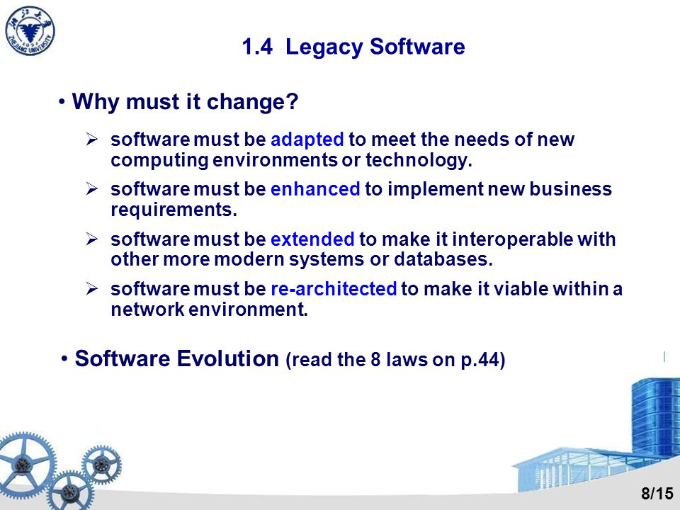 1.4 Legacy Software Why must it change.