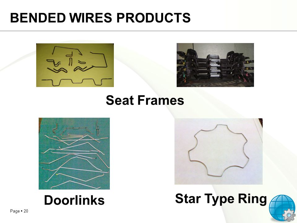 Page 20 BENDED WIRES PRODUCTS Seat Frames Doorlinks Star Type Ring