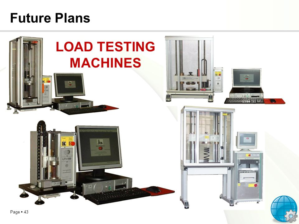 Page 43 Future Plans LOAD TESTING MACHINES