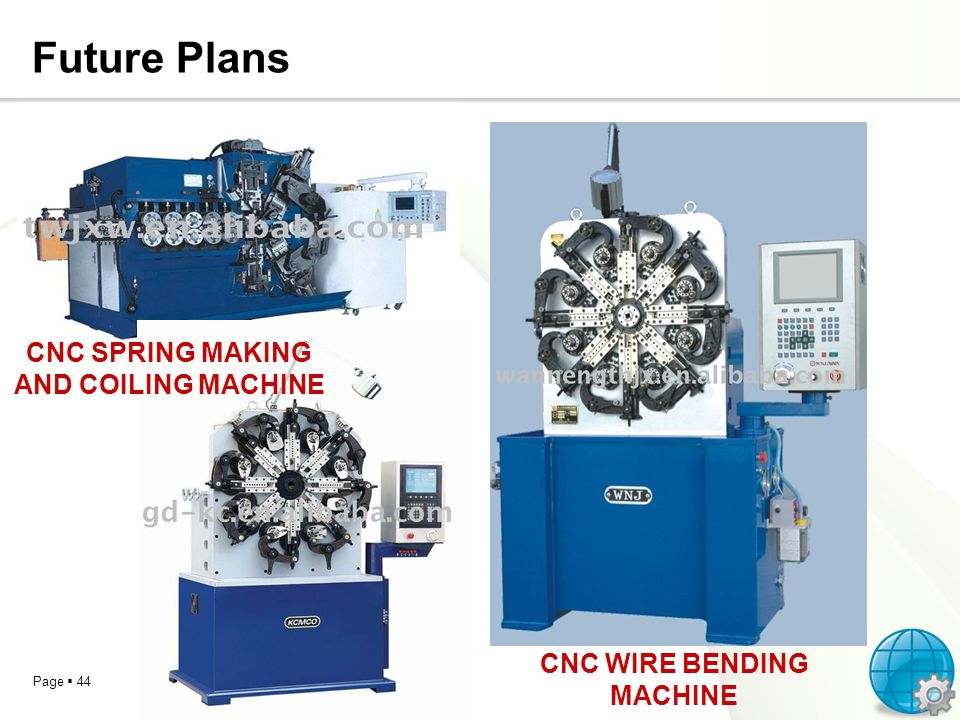 Page 44 Future Plans CNC SPRING MAKING AND COILING MACHINE CNC WIRE BENDING MACHINE