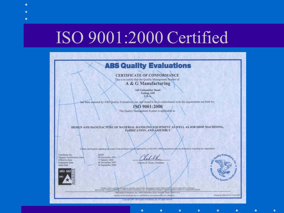 ISO 9001:2000 Certified
