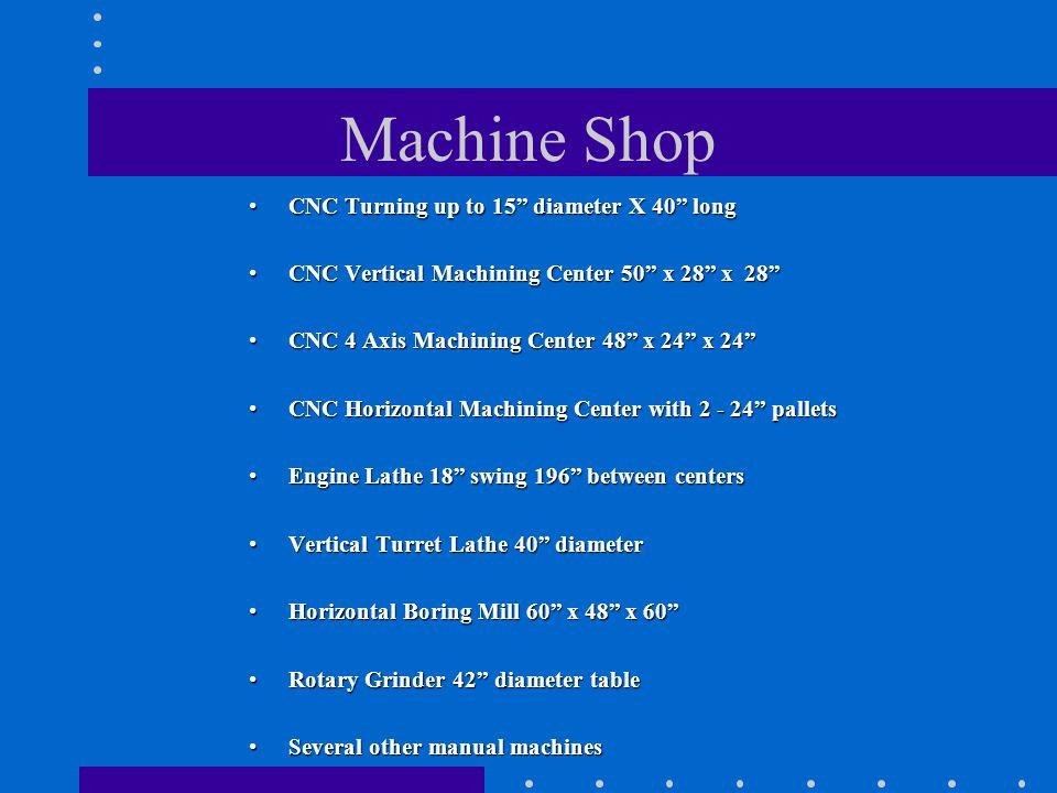 Machine Shop CNC Turning up to 15 diameter X 40 longCNC Turning up to 15 diameter X 40 long CNC Vertical Machining Center 50 x 28 x 28CNC Vertical Mac