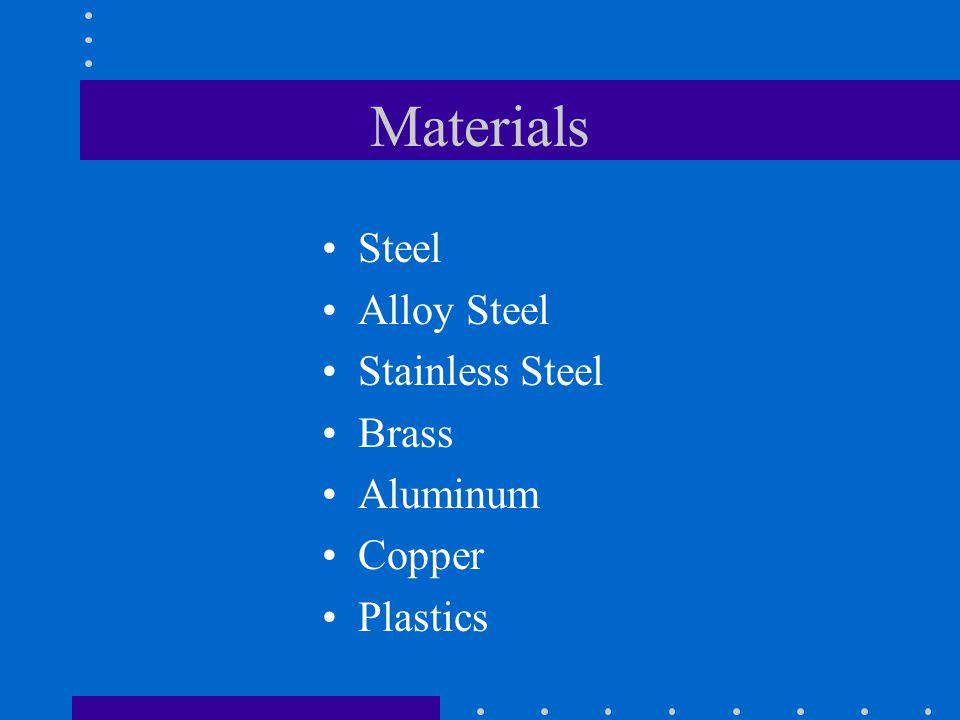 Materials Steel Alloy Steel Stainless Steel Brass Aluminum Copper Plastics