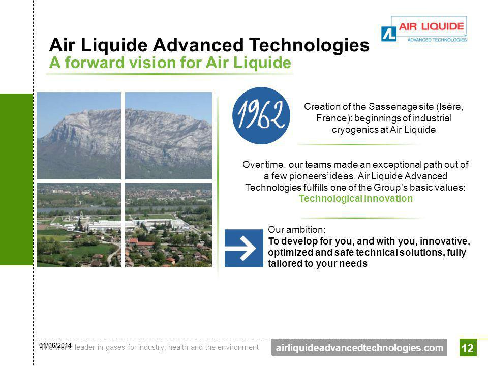 01/06/2014 The world leader in gases for industry, health and the environment 12 airliquideadvancedtechnologies.com 12 Over time, our teams made an ex