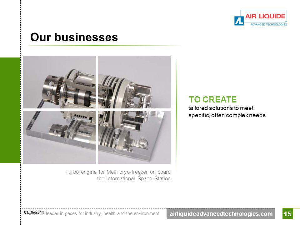 01/06/2014 The world leader in gases for industry, health and the environment 15 airliquideadvancedtechnologies.com 15 Our businesses TO CREATE tailor