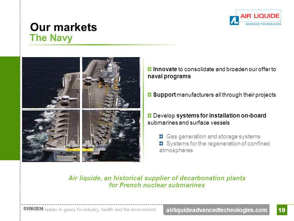 01/06/2014 The world leader in gases for industry, health and the environment 19 airliquideadvancedtechnologies.com 19 The Navy Our markets Air liquid