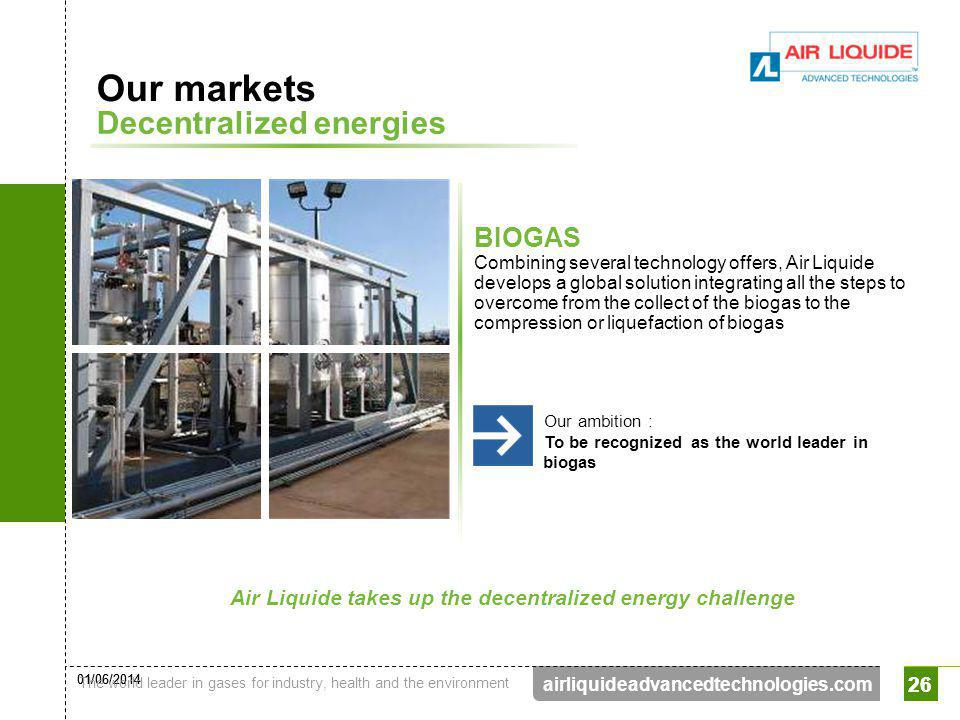 01/06/2014 The world leader in gases for industry, health and the environment 26 airliquideadvancedtechnologies.com 26 Our markets Decentralized energ