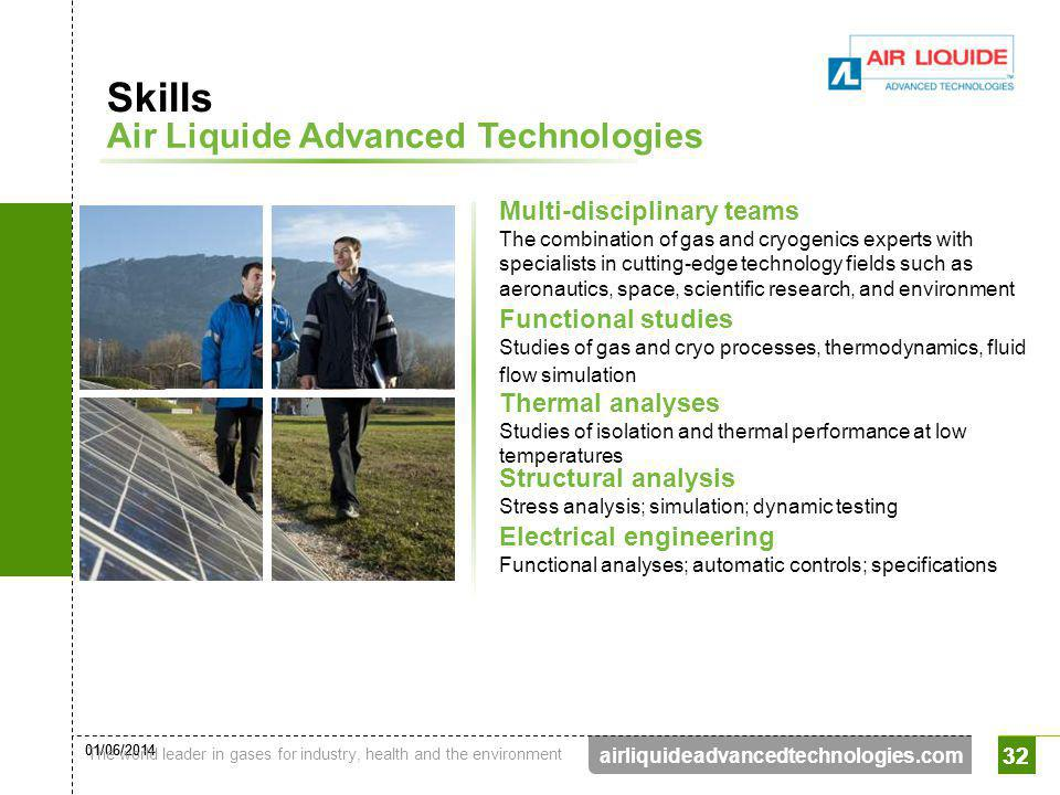 01/06/2014 The world leader in gases for industry, health and the environment 32 airliquideadvancedtechnologies.com 32 Multi-disciplinary teams The co