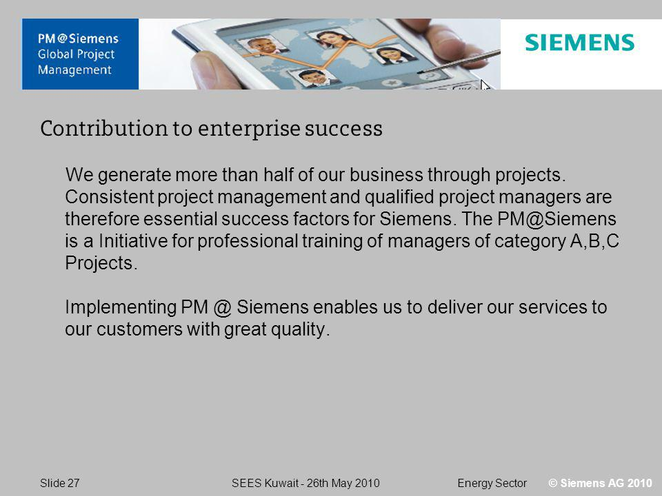 Energy SectorSEES Kuwait - 26th May 2010 Slide 27 © Siemens AG 2010 Contribution to enterprise success We generate more than half of our business through projects.