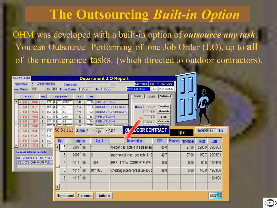 OHM was developed with a built-in option of outsource any task.