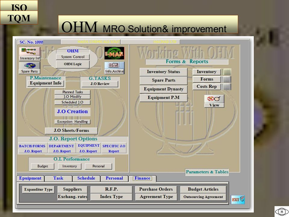 MRO (maintain-repair-operate)& P.M Module Preventive& Predicted Maintenance General Projects& Tasks The Outsourcing Module Outsourcing managing & Agreements.