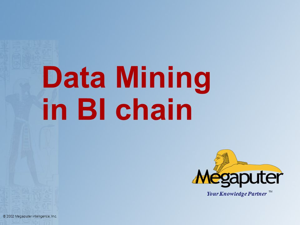 © 2002 Megaputer intelligence, Inc. Data Mining in BI chain Your Knowledge Partner TM