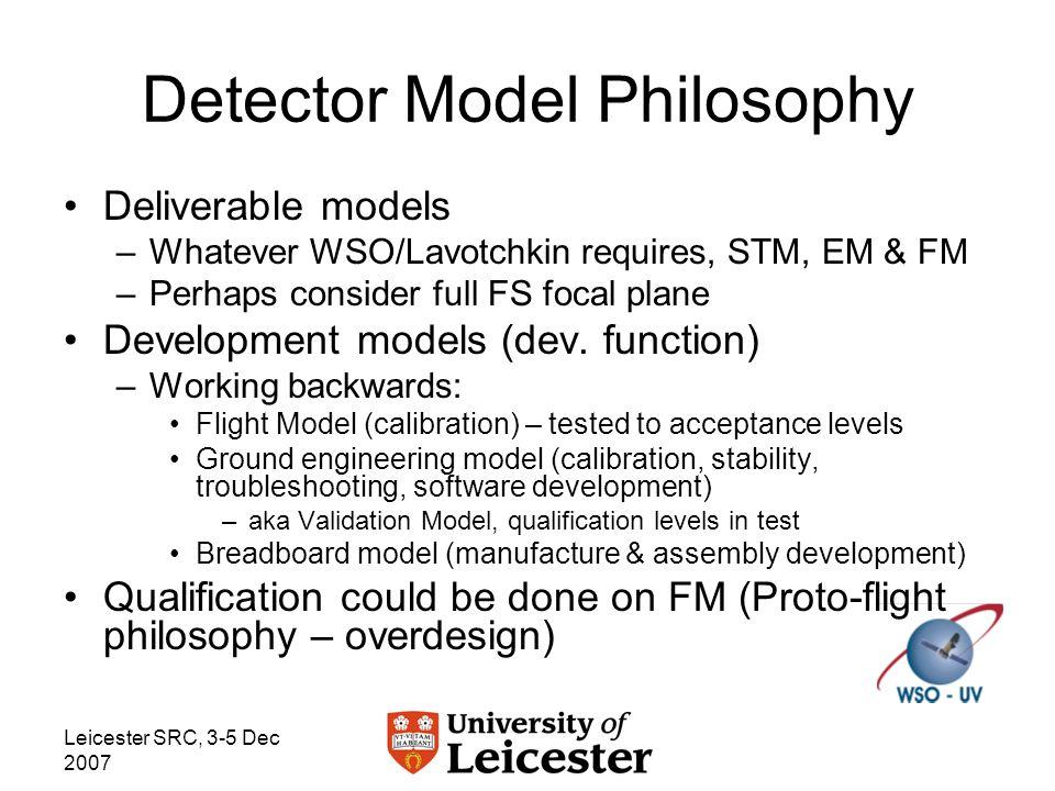 Leicester SRC, 3-5 Dec 2007 Detector Model Philosophy Deliverable models –Whatever WSO/Lavotchkin requires, STM, EM & FM –Perhaps consider full FS focal plane Development models (dev.