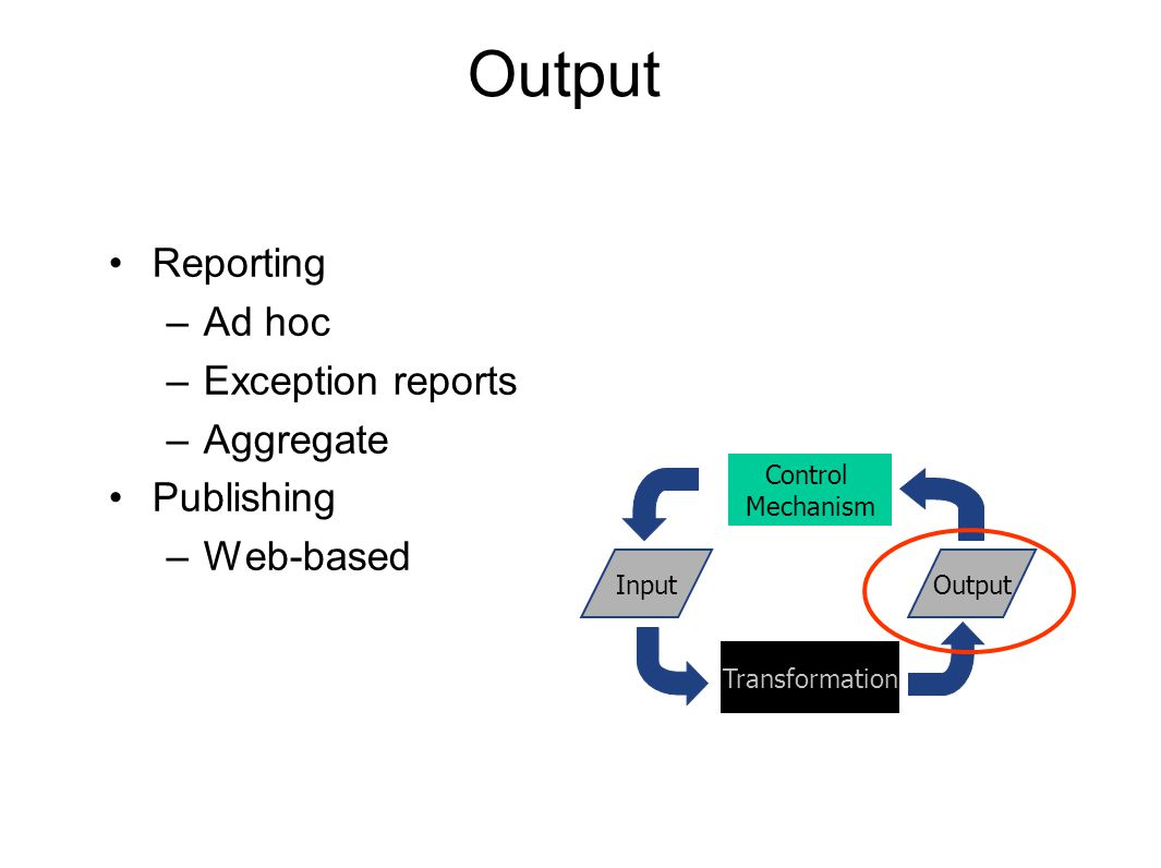 Output Reporting –Ad hoc –Exception reports –Aggregate Publishing –Web-based Transformation InputOutput Control Mechanism