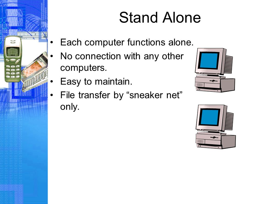 Stand Alone Each computer functions alone. No connection with any other computers.