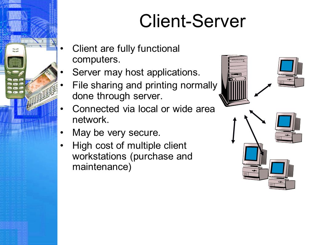 Client-Server Client are fully functional computers.