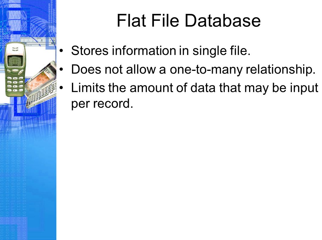 Flat File Database Stores information in single file.