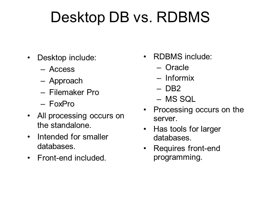 Desktop DB vs. RDBMS Desktop include: –Access –Approach –Filemaker Pro –FoxPro All processing occurs on the standalone. Intended for smaller databases