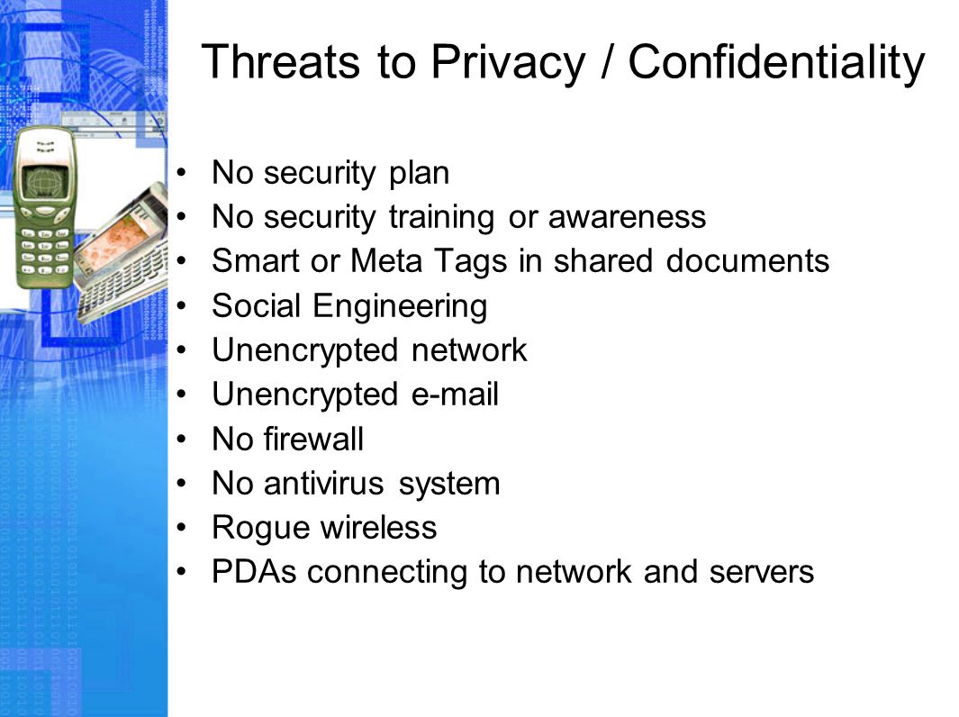 Threats to Privacy / Confidentiality No security plan No security training or awareness Smart or Meta Tags in shared documents Social Engineering Unencrypted network Unencrypted e-mail No firewall No antivirus system Rogue wireless PDAs connecting to network and servers