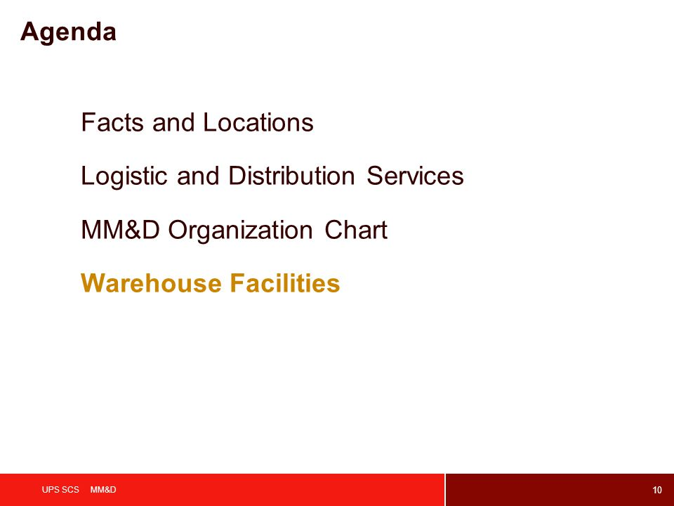10 UPS SCS MM&D Agenda Facts and Locations Logistic and Distribution Services MM&D Organization Chart Warehouse Facilities